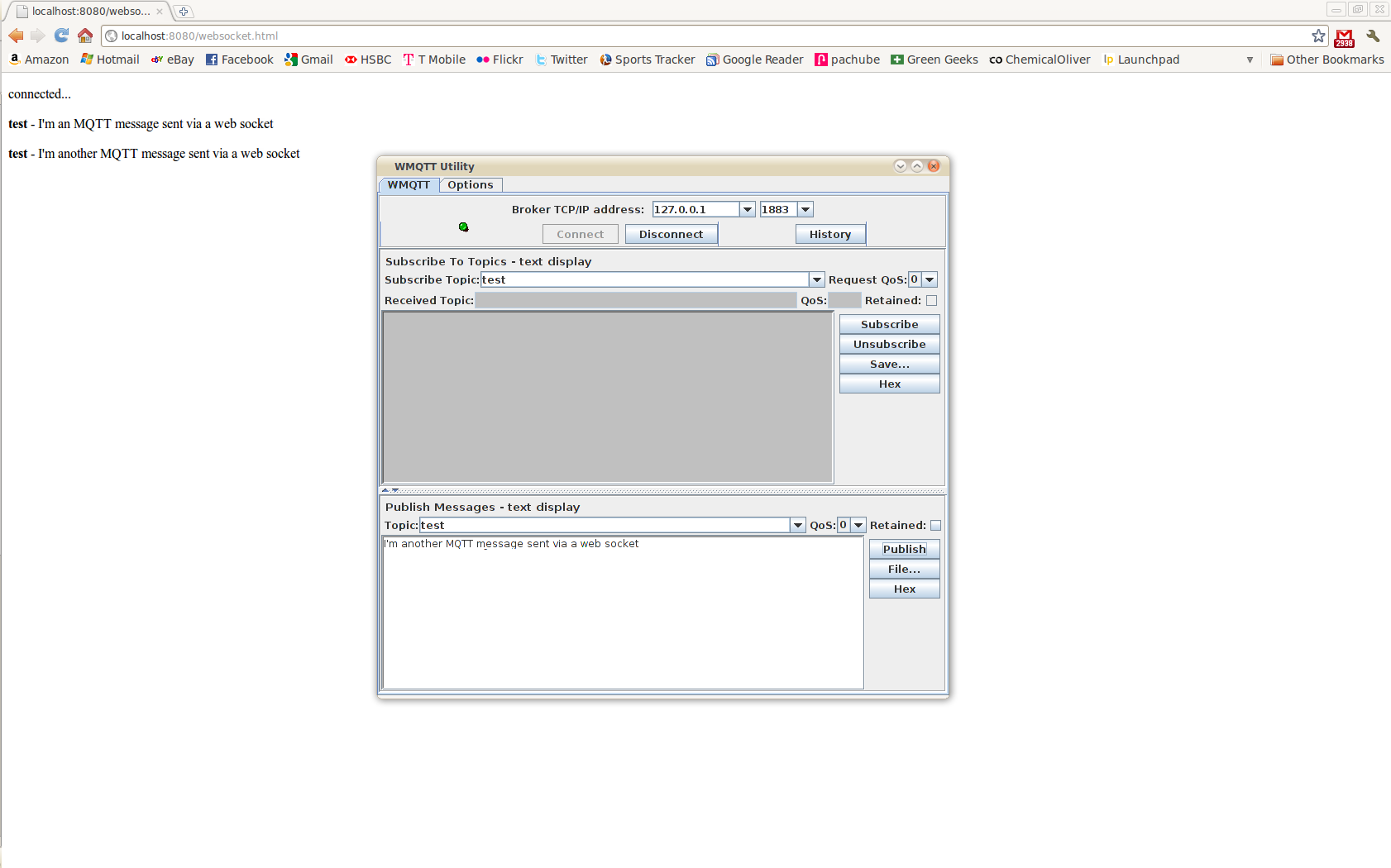 A simple MQTT to Websocket Bridge using Mosquitto and
